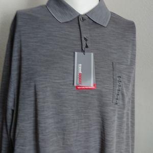 New Men's 2XB polo long-sleeved gray Travel Smart